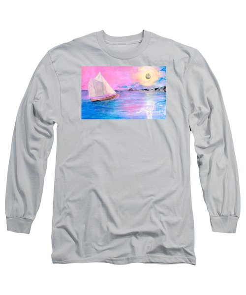 Sailboat In Pink Moonlight  Long Sleeve T-Shirt by Robin Maria Pedrero