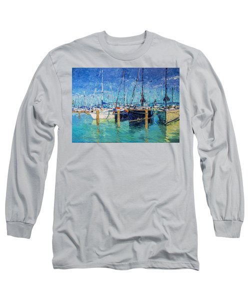 Sailboats At Balatonfured Long Sleeve T-Shirt