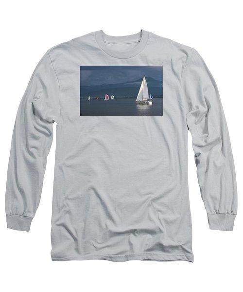 Sailing Boats By Stormy Weather, Geneva Lake, Switzerland Long Sleeve T-Shirt by Elenarts - Elena Duvernay photo