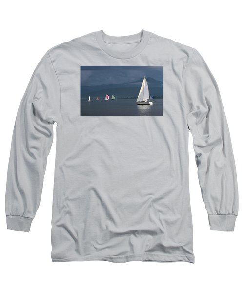 Sailing Boats By Stormy Weather, Geneva Lake, Switzerland Long Sleeve T-Shirt