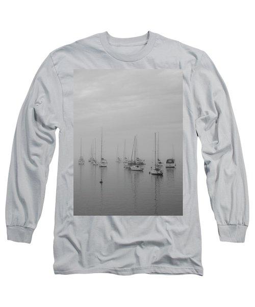 Sailing Bw Long Sleeve T-Shirt by Silvia Bruno