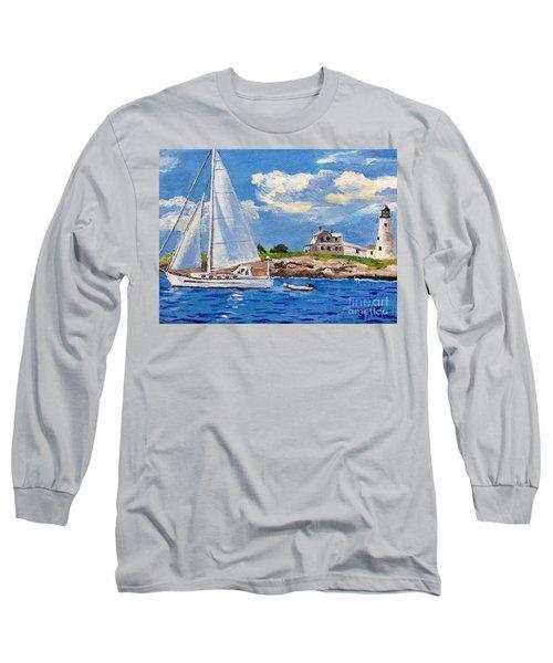 Sailing Past Wood Island Lighthouse Long Sleeve T-Shirt