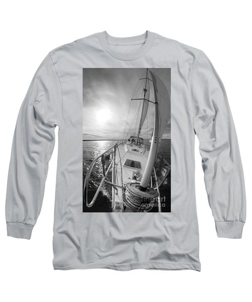 Sailing Yacht Fate Beneteau 49 Black And White Long Sleeve T-Shirt