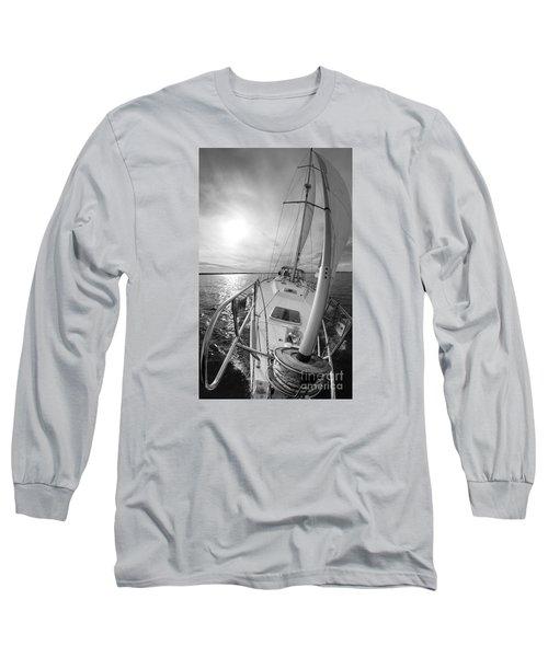 Sailing Yacht Fate Beneteau 49 Black And White Long Sleeve T-Shirt