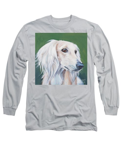 Long Sleeve T-Shirt featuring the painting Saluki Sighthound by Lee Ann Shepard