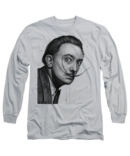 Salvador Dali Portrait Black And White Watercolor Long Sleeve T-Shirt