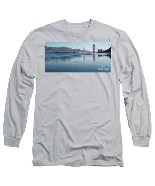 San Francisco Golden Gate Bridge Reflected On Baker's Beach Wet  Long Sleeve T-Shirt