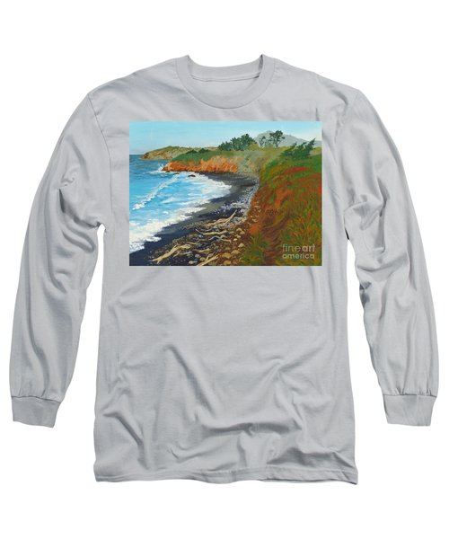 Long Sleeve T-Shirt featuring the painting San Simeon Ca Coast by Katherine Young-Beck