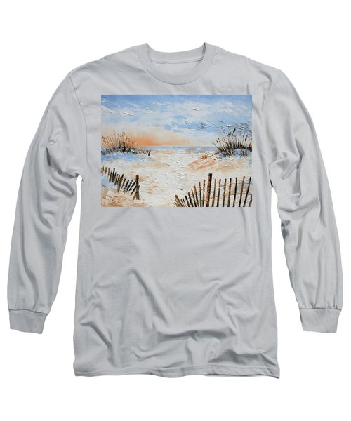 Long Sleeve T-Shirt featuring the painting Sand Fences by William Love