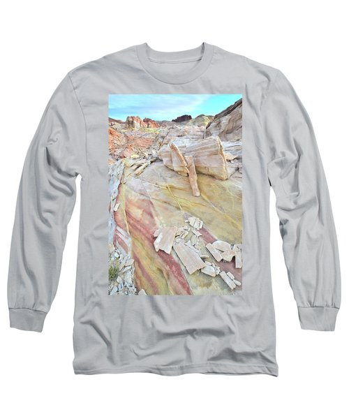 Sandstone Rainbow In Valley Of Fire Long Sleeve T-Shirt by Ray Mathis