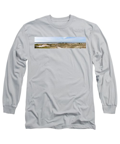 Sandy Neck Lighthouse With Fishing Boat Long Sleeve T-Shirt