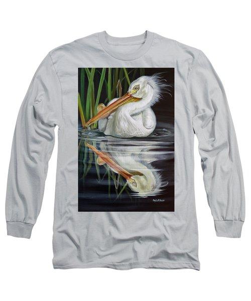 Sandy's Pelican Long Sleeve T-Shirt by Phyllis Beiser