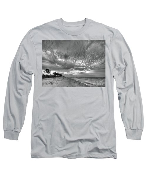 Sanibel Island Sunrise In Black And White Long Sleeve T-Shirt