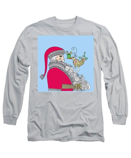 Santa And Bird On Blue Long Sleeve T-Shirt
