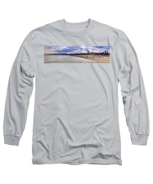 Santa Monica Sunset Panorama Long Sleeve T-Shirt