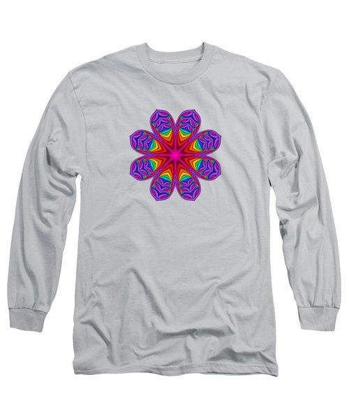 Satin Fractal Flower 3 Long Sleeve T-Shirt