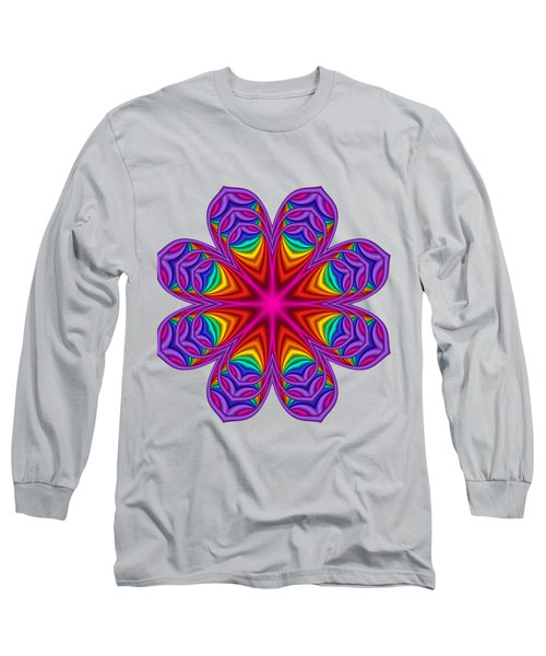 Satin Fractal Flower 3 Long Sleeve T-Shirt