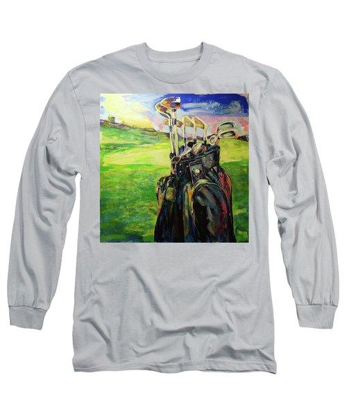 Schwarze Golftasche  Black Golf Bag Long Sleeve T-Shirt by Koro Arandia