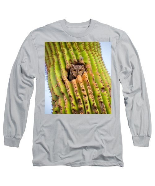 Screech Owl In Saguaro Long Sleeve T-Shirt