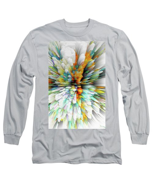 Long Sleeve T-Shirt featuring the digital art Sculptural Series Painting23.102011windblastsccvsext4100l by Kris Haas