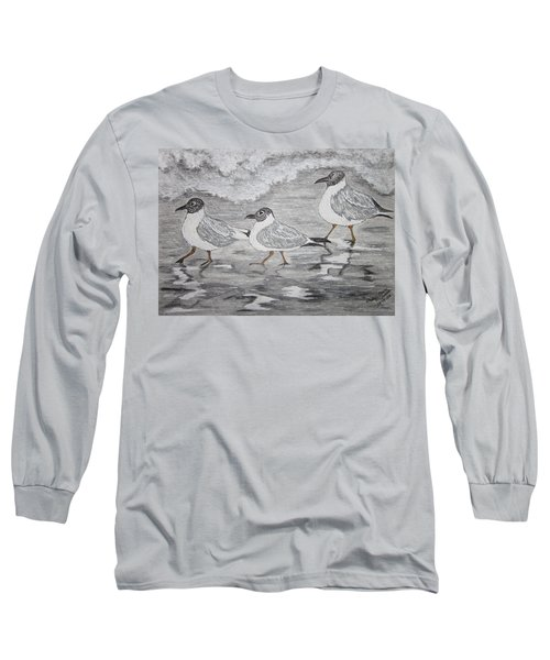 Sea Gulls Dodging The Ocean Waves Long Sleeve T-Shirt by Kathy Marrs Chandler