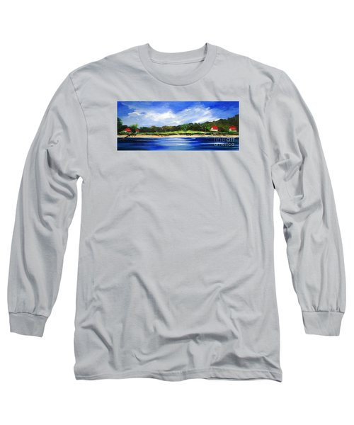 Long Sleeve T-Shirt featuring the painting Sea Hill Houses - Original Sold by Therese Alcorn