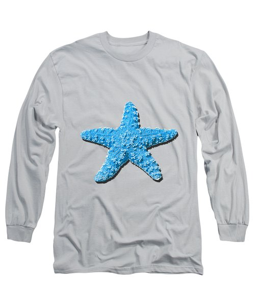 Long Sleeve T-Shirt featuring the photograph Sea Star Light Blue .png by Al Powell Photography USA