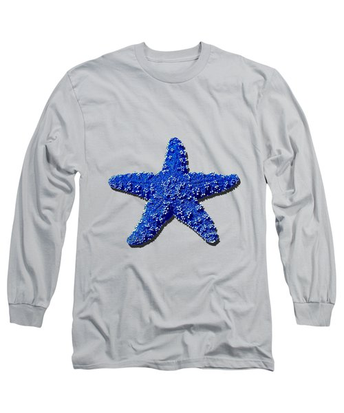 Long Sleeve T-Shirt featuring the photograph Sea Star Navy Blue .png by Al Powell Photography USA