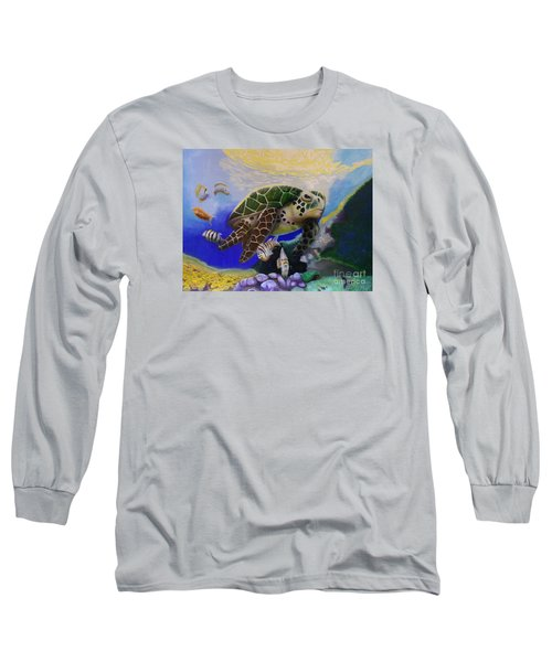 Sea Turtle Acrylic Painting Long Sleeve T-Shirt by Thomas J Herring