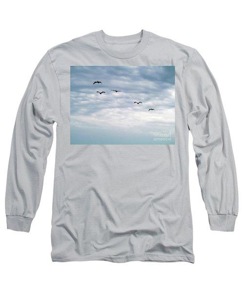 Seabirds In Flight Long Sleeve T-Shirt