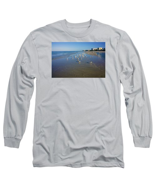 Long Sleeve T-Shirt featuring the photograph Seagulls And Terns On The Beach In Naples, Fl by Robb Stan