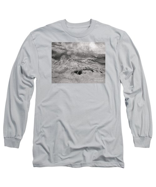 Seascape In Graphite Long Sleeve T-Shirt by John Stuart Webbstock