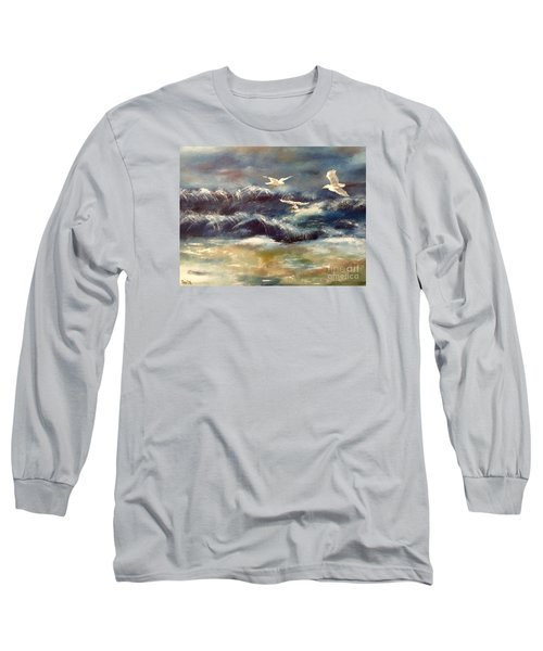 Long Sleeve T-Shirt featuring the painting Seaside Serenade by Denise Tomasura