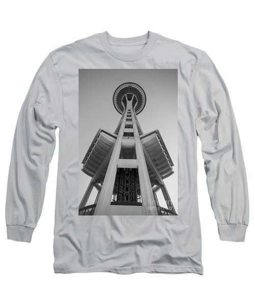 Seattle Space Needle In Black And White Long Sleeve T-Shirt by Patrick Fennell