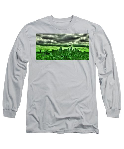Seattle - The Emerald City Panorama Long Sleeve T-Shirt by David Patterson