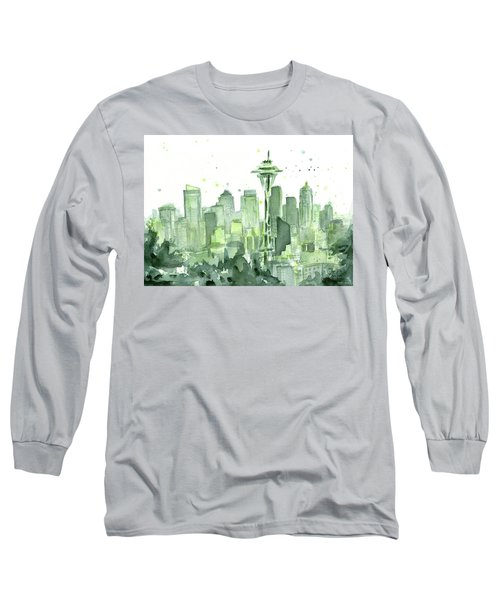 Seattle Watercolor Long Sleeve T-Shirt