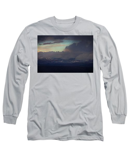 Sedona At Sunset With Red Rock Snow Long Sleeve T-Shirt