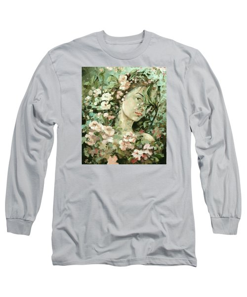 Self Portrait With Aplle Flowers Long Sleeve T-Shirt by Vali Irina Ciobanu
