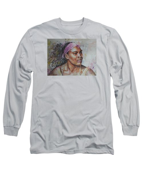 Serena Williams - Portrait 6 Long Sleeve T-Shirt by Baresh Kebar - Kibar