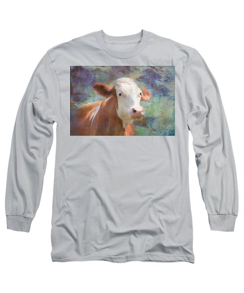 Long Sleeve T-Shirt featuring the mixed media Serious Business by Colleen Taylor