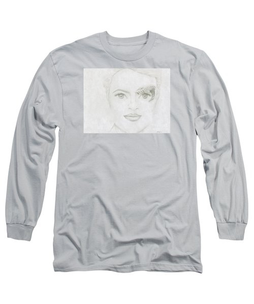 Long Sleeve T-Shirt featuring the drawing Seven by Kim Sy Ok