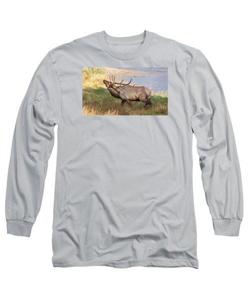 Seven Point Elk Bugling Long Sleeve T-Shirt by Stephen  Johnson