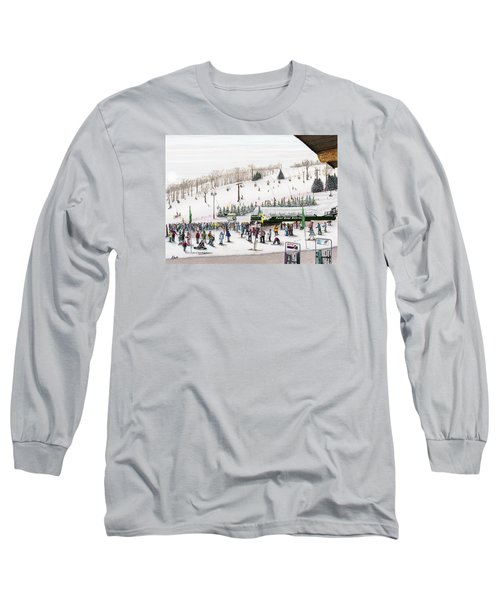 Long Sleeve T-Shirt featuring the painting Seven Springs Stowe Slope by Albert Puskaric