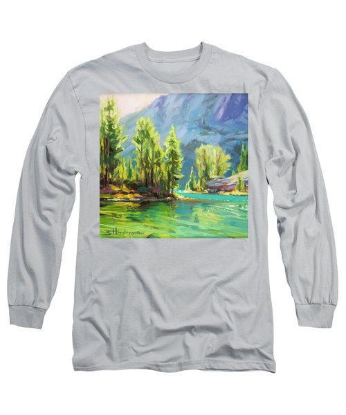 Long Sleeve T-Shirt featuring the painting Shades Of Turquoise by Steve Henderson