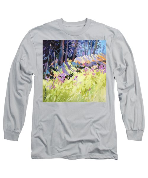 Long Sleeve T-Shirt featuring the painting Shadow Dance Alaska by Rae Andrews