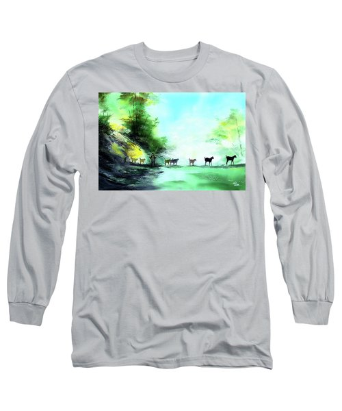Long Sleeve T-Shirt featuring the painting Shepherd by Anil Nene