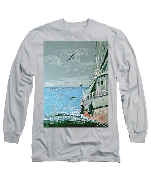 Long Sleeve T-Shirt featuring the painting Shrimp Boat In The Gulf by Suzanne McKee