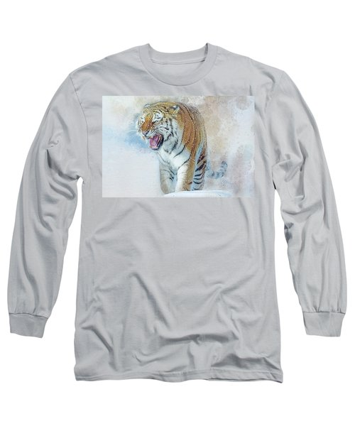 Siberian Tiger In Snow Long Sleeve T-Shirt by Brian Tarr