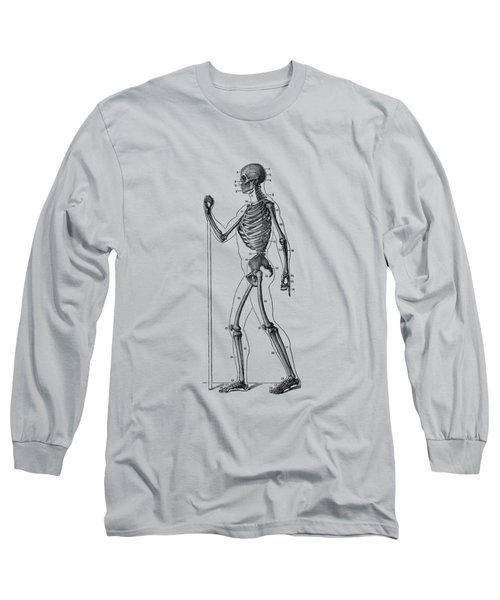 Side View Skeletal Diagram - Vintage Anatomy Poster Long Sleeve T-Shirt