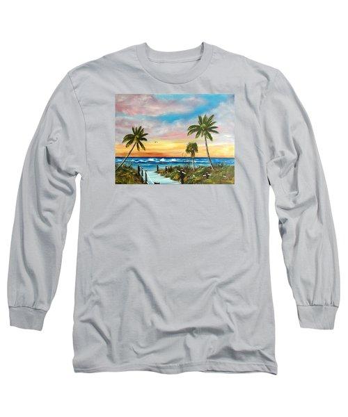 Siesta Key At Sunset Long Sleeve T-Shirt by Lloyd Dobson